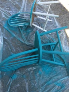 Spray painting the chairs