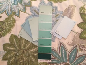 "Beyond Super White, the Dunn Edwards colors ""Calm Waters"" or ""Coastal Breeze"" work well when repainting old frames for beach art, as do ""Lazy Days"" and ""Tranquility"" from Valspar, and ""Robin's Nest"" from Benjamin Moore."